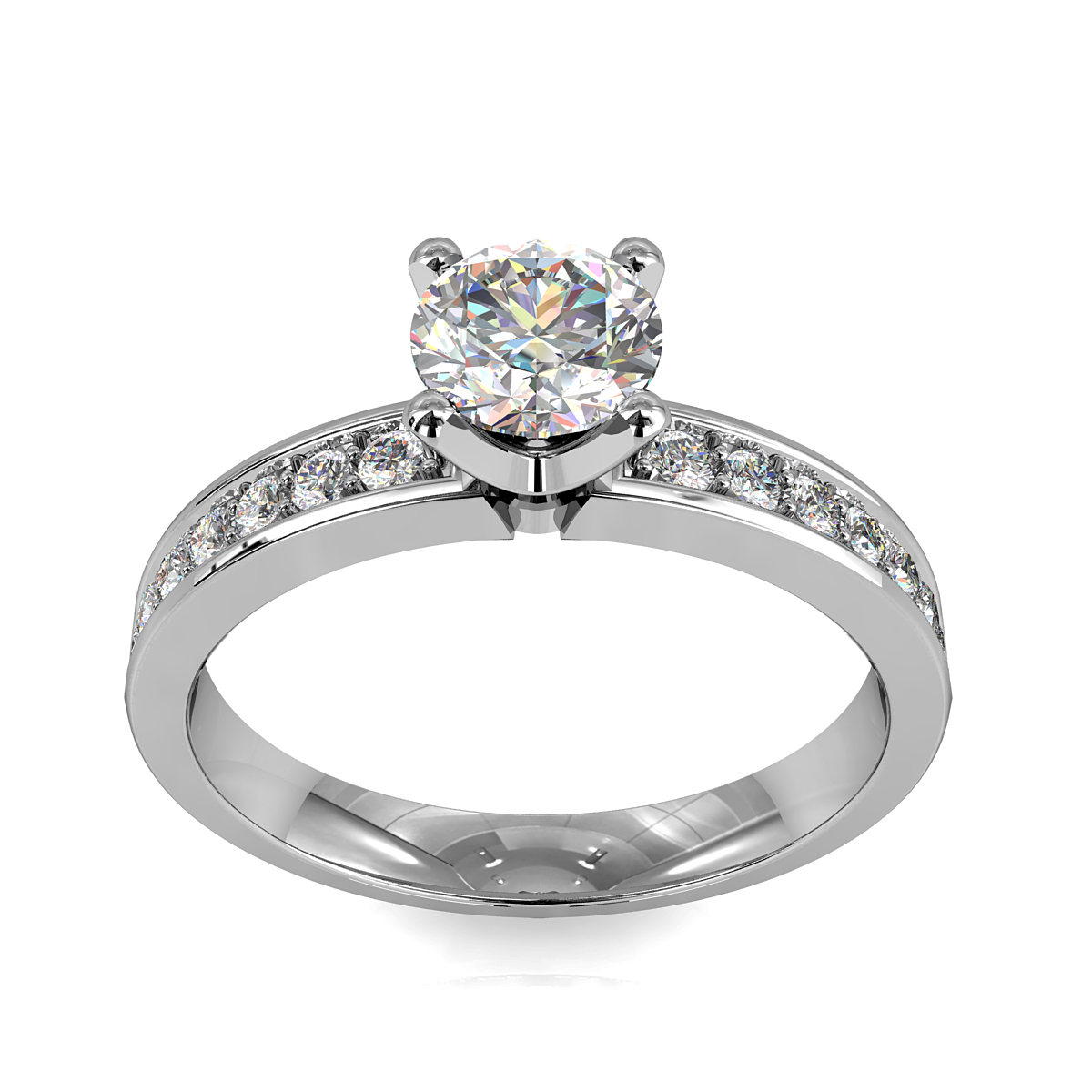 Round Brilliant Cut Solitaire Diamond Engagement Ring, 4 Button Claws Set on a Straight Bead Set Band with Classic Raised Undersetting.