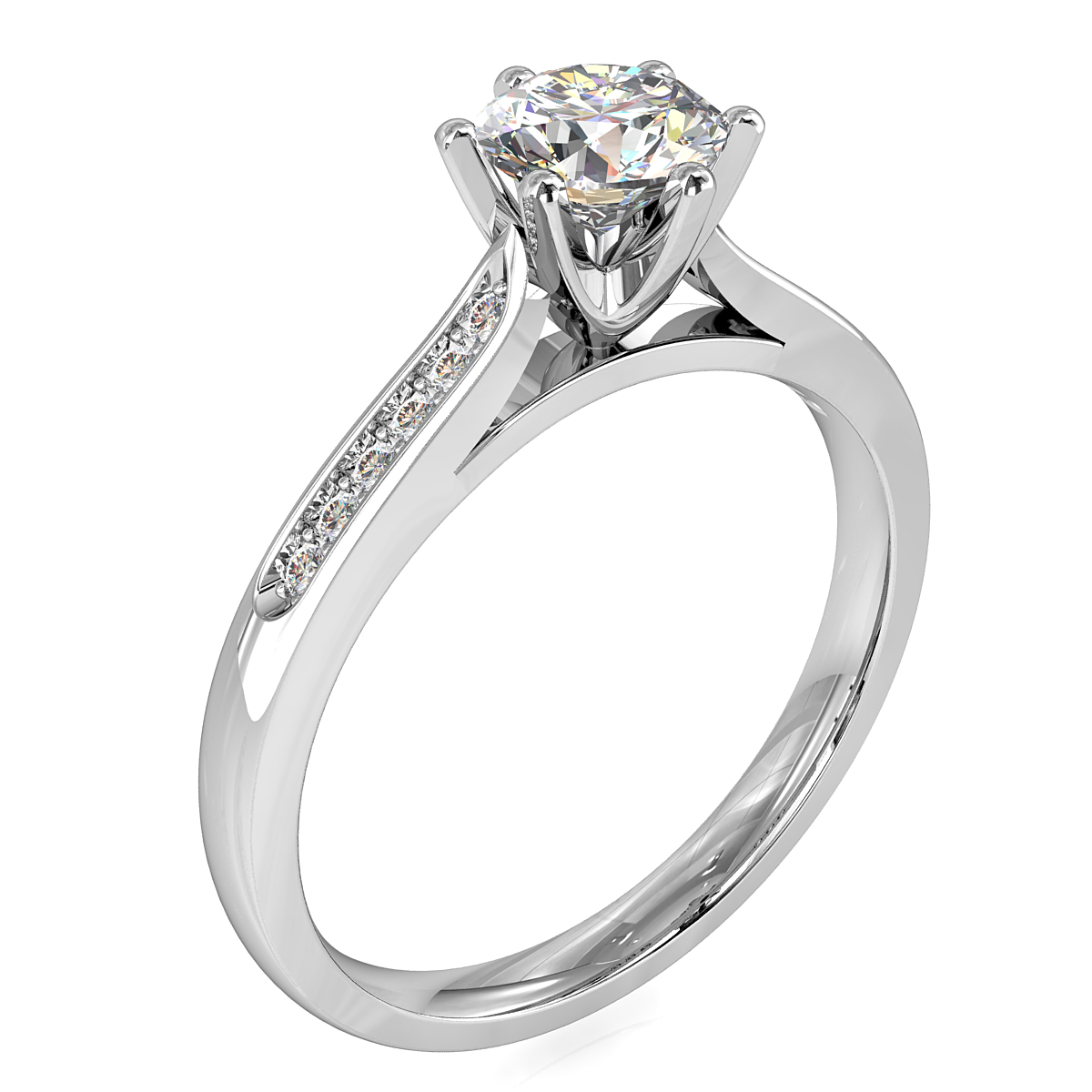 Round Brilliant Cut Solitaire Diamond Engagement Ring, 6 Button Claws Set on a Tapered Bead Set Band with Classic Undersetting.