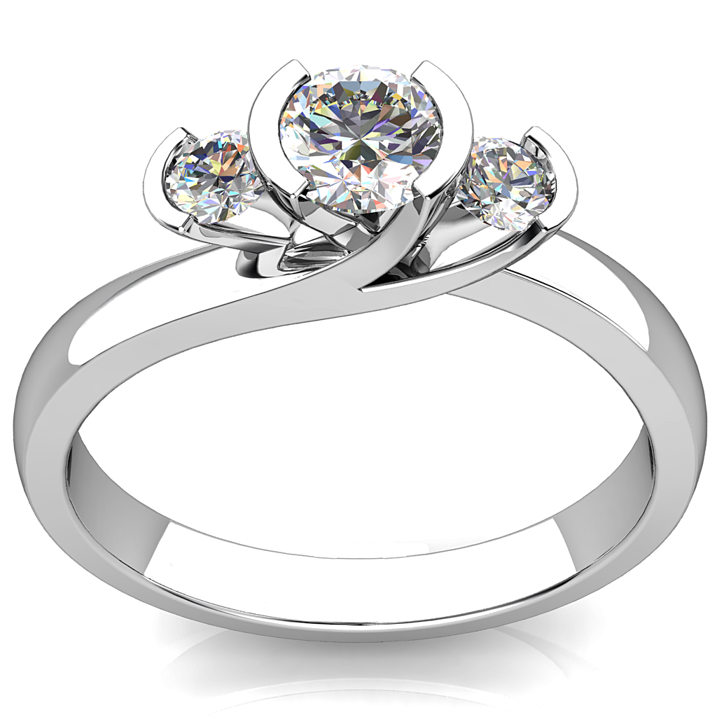 Round Brilliant Cut Diamond Trilogy Engagement Ring, Semi Bezel Tension Set Stones and a Sweeping Offset Undersetting.