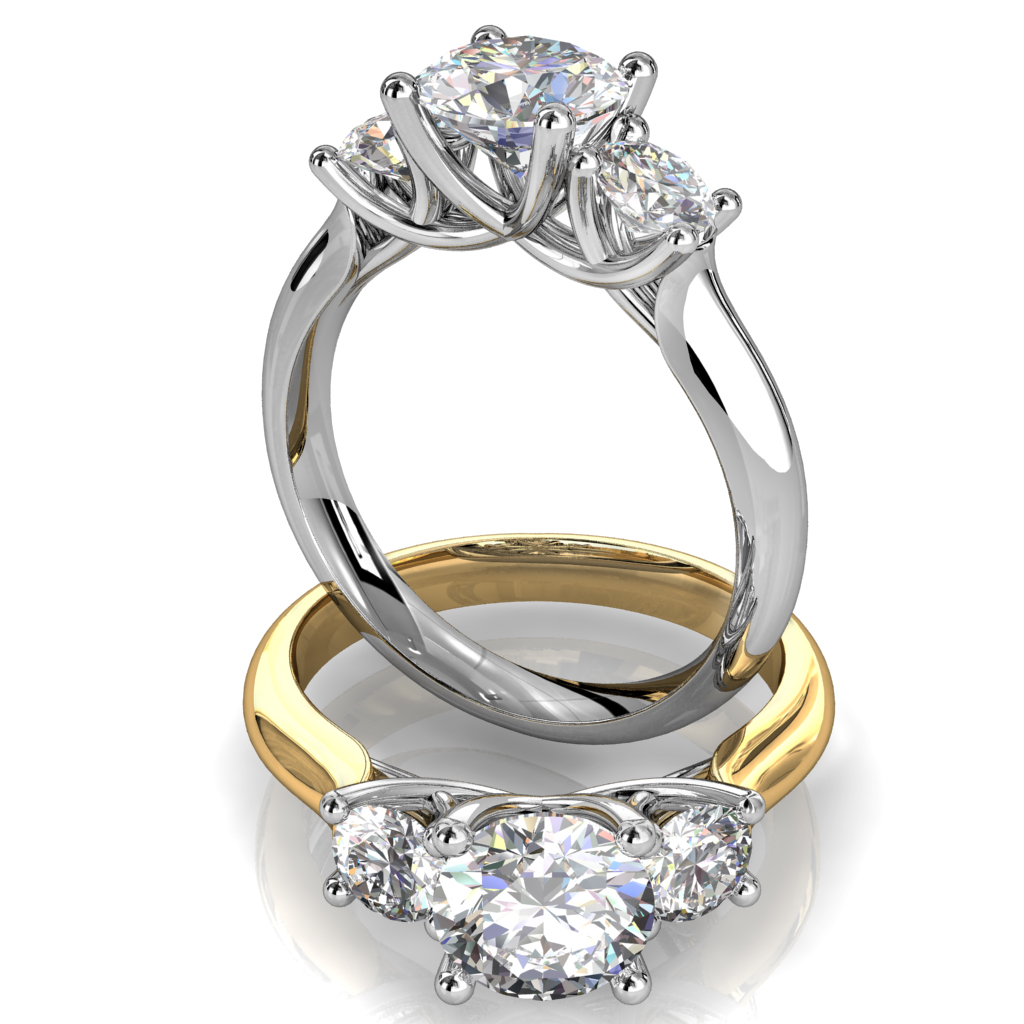 Round Brilliant Cut Diamond Trilogy Engagement Ring, Stones 4 Claw Set on a Rounded Band and an Open Undersweep Setting.