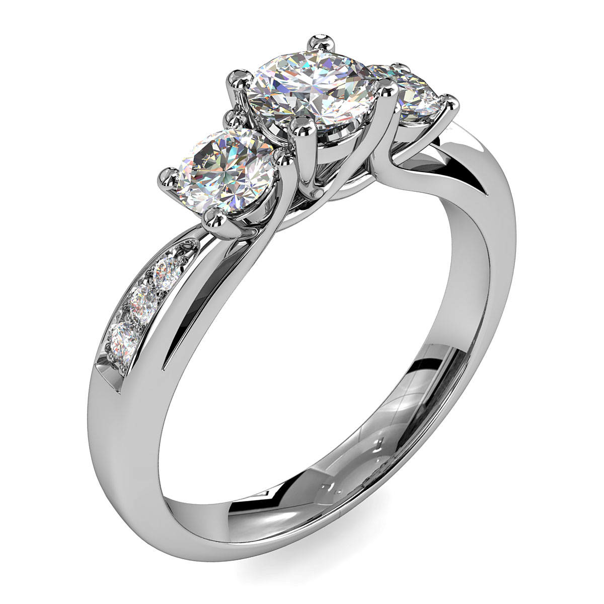 Round Brilliant Cut Diamond Trilogy Engagement Ring, Stones 4 Claw Set on a Curved Bead Set Band with Undersweep Setting.