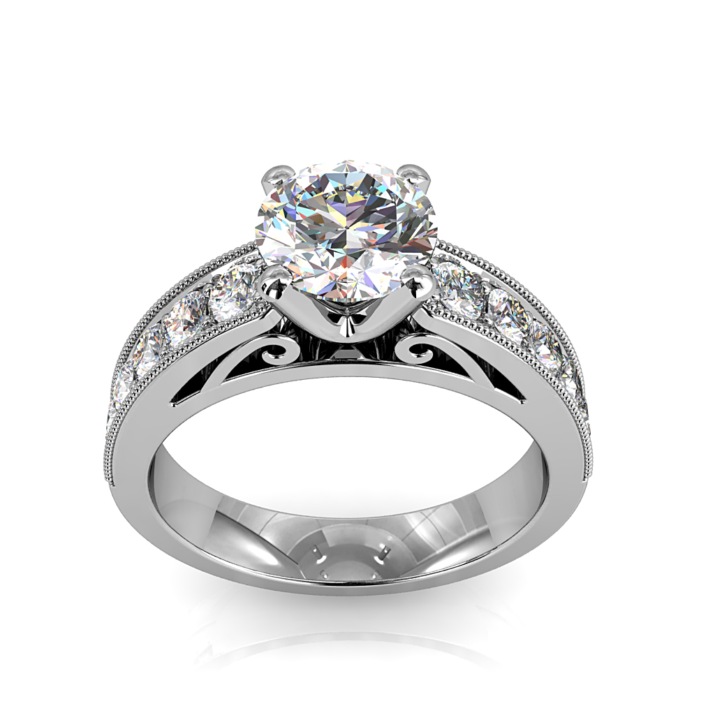 Round Brilliant Cut Solitaire Diamond Engagement Ring, 4 Button Claws Set on a Wide Milgrained Bead Set with Scroll Outer Band Detail.