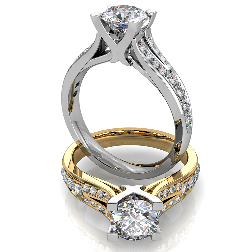Round Brilliant Cut Diamond Solitaire Engagement Ring, 4 Claw Set on a Split Bead Set Band.