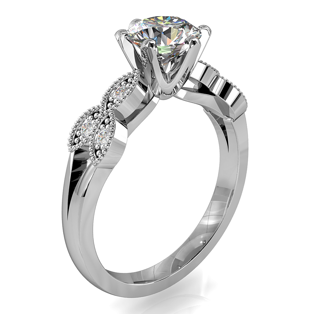 Round Brilliant Cut Solitaire Diamond Engagement Ring, 6 Square Claws Set with Tri-Leaf Diamond Set Milgrain Side Detail on a Split Band with Fluted Undersetting.