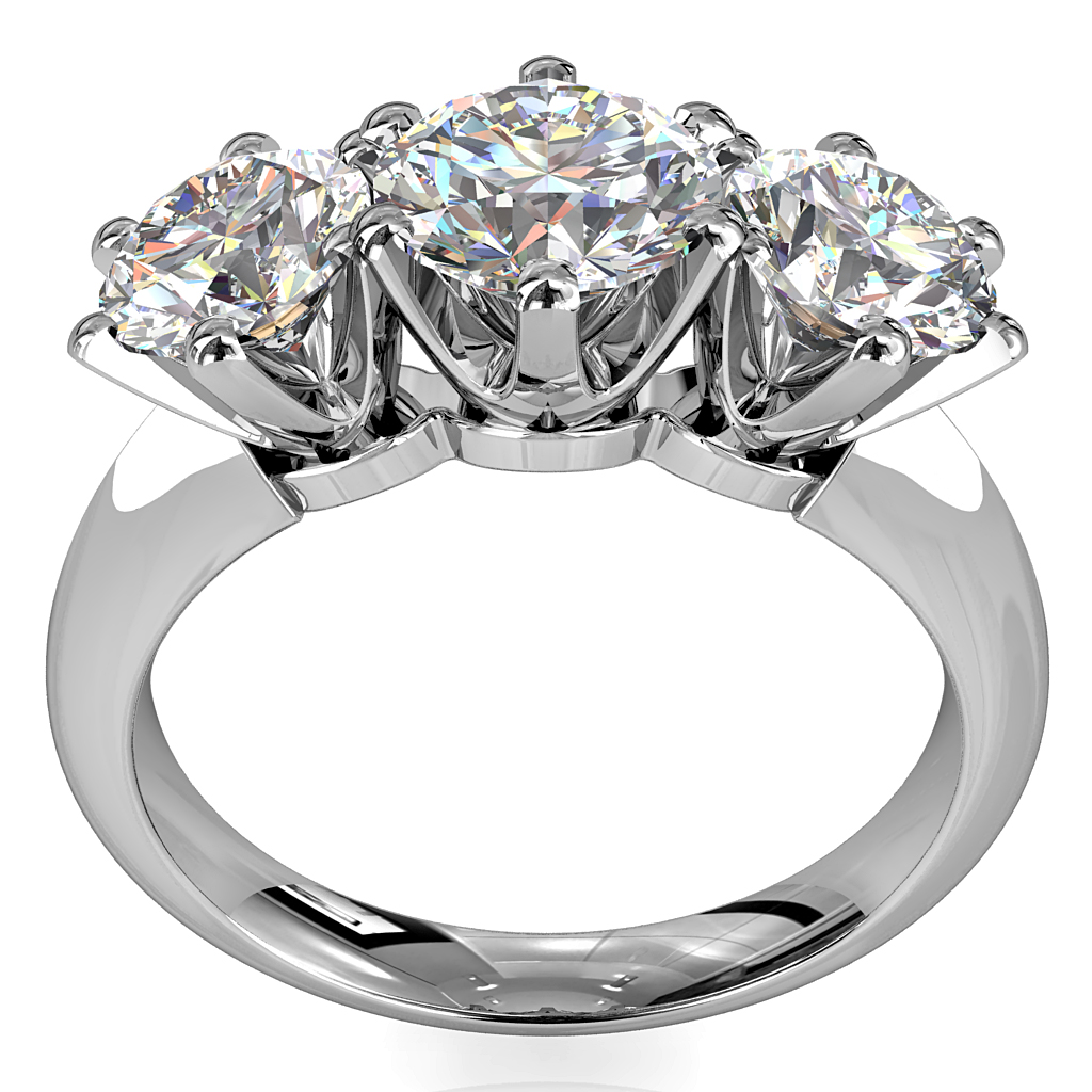 Round Brilliant Cut Diamond Trilogy Engagement Ring, Stones 6 Claw Set with a Classic Crown Undersetting.