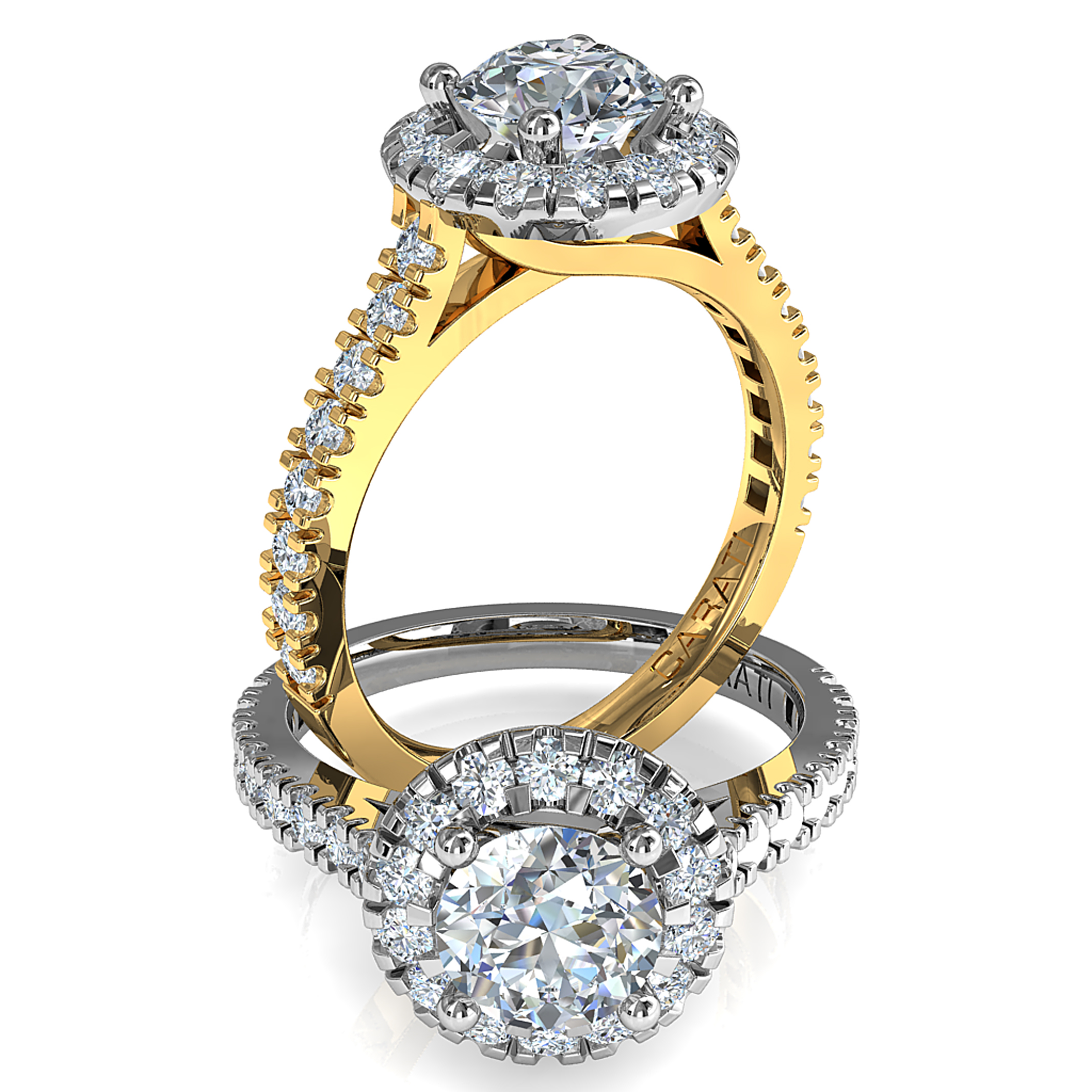 Round Brilliant Cut Halo Diamond Engagement Ring, 4 Button Claws Set in a Double Cut Claw Halo on a Double Cut Claw Band with a Crossover Undersetting.