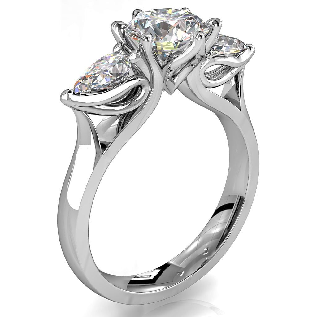 Round Brilliant Cut Diamond Trilogy Engagement Ring, Stones 6 Claw Set with Pear Side Stones on a Tapered Flat Band with Lotus Flower Undersetting.