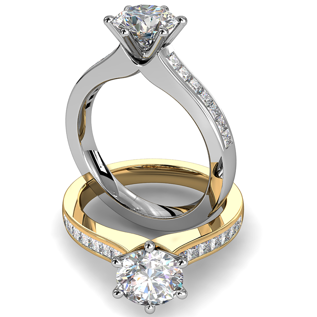 Round Brilliant Cut Solitaire Diamond Engagement Ring, 6 Pear Shaped Claws on Princess Cut Channel Set Band with Classic Undersetting.