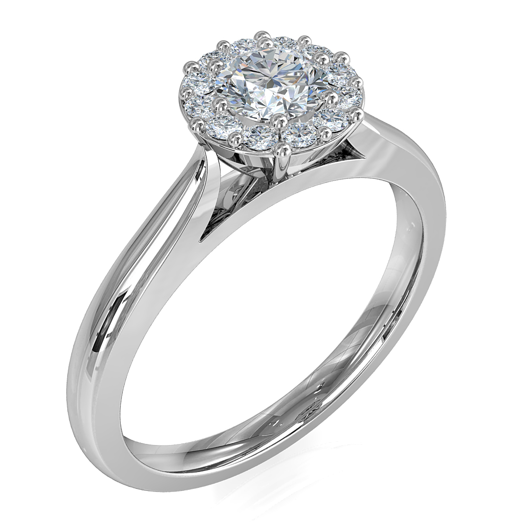 Round Brilliant Cut Diamond Halo Engagement Ring, 8 Claws Set in an Illusion Halo on a Tapered Half Round Plain Band with Wire Basket Undersetting.