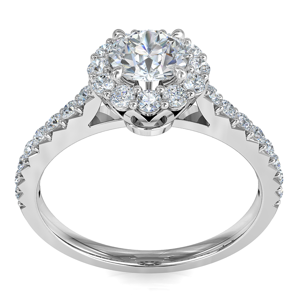 Round Brilliant Cut Halo Diamond Engagement Ring, 4 Claws Set in a Fine Cut Claw Halo on Fine Cut Claw Band with Loop Basket Undersetting.