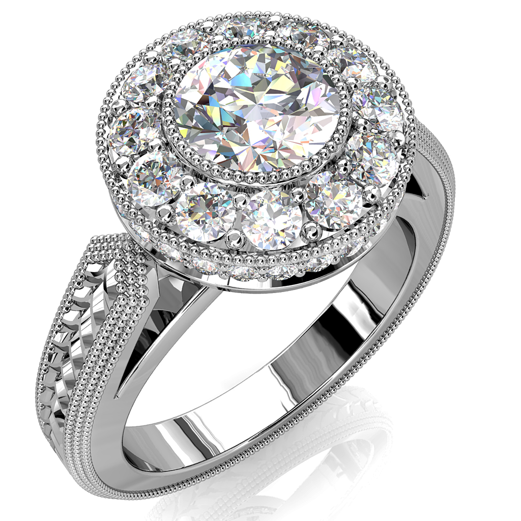 Round Brilliant Cut Halo Diamond Engagement Ring, Milgrain Bezel Set in a Large Milgrain Bead set Halo on a Vintage Arrow Textured Band with Open Leaf Undersetting.