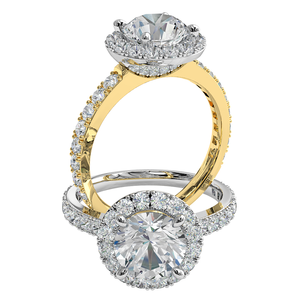Round Brilliant Cut Halo Diamond Engagement Ring, 4 Pear Shaped Claws set in a Cut Claw Halo with a Cut Claw Band and Diamond Curved Undersetting.