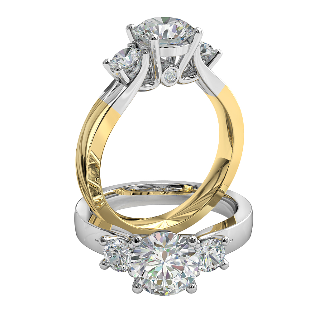 Round Brilliant Cut Diamond Trilogy Engagement Ring, Stones 4 Claw Set on a Split Band with Hidden Diamond Undersetting.