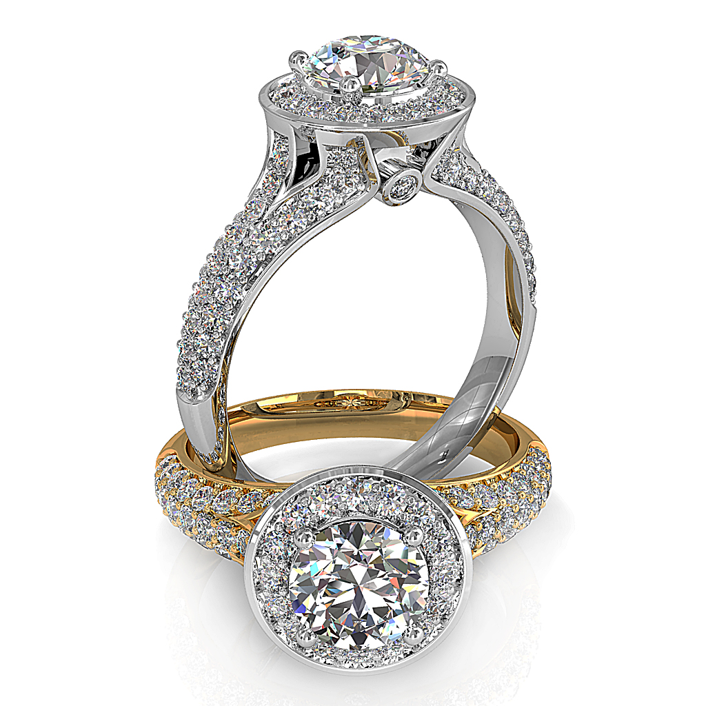 Round Brilliant Cut Halo Diamond Engagement Ring, 4 Claw Set in a Bead Set Halo on Split Pave Band with Hidden Diamond Undersetting.