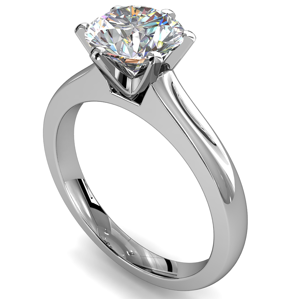 Round Brilliant Cut Solitaire Diamond Engagement Ring, 6 Button Claws Set on Wide Straight Band with Classic Undersetting.