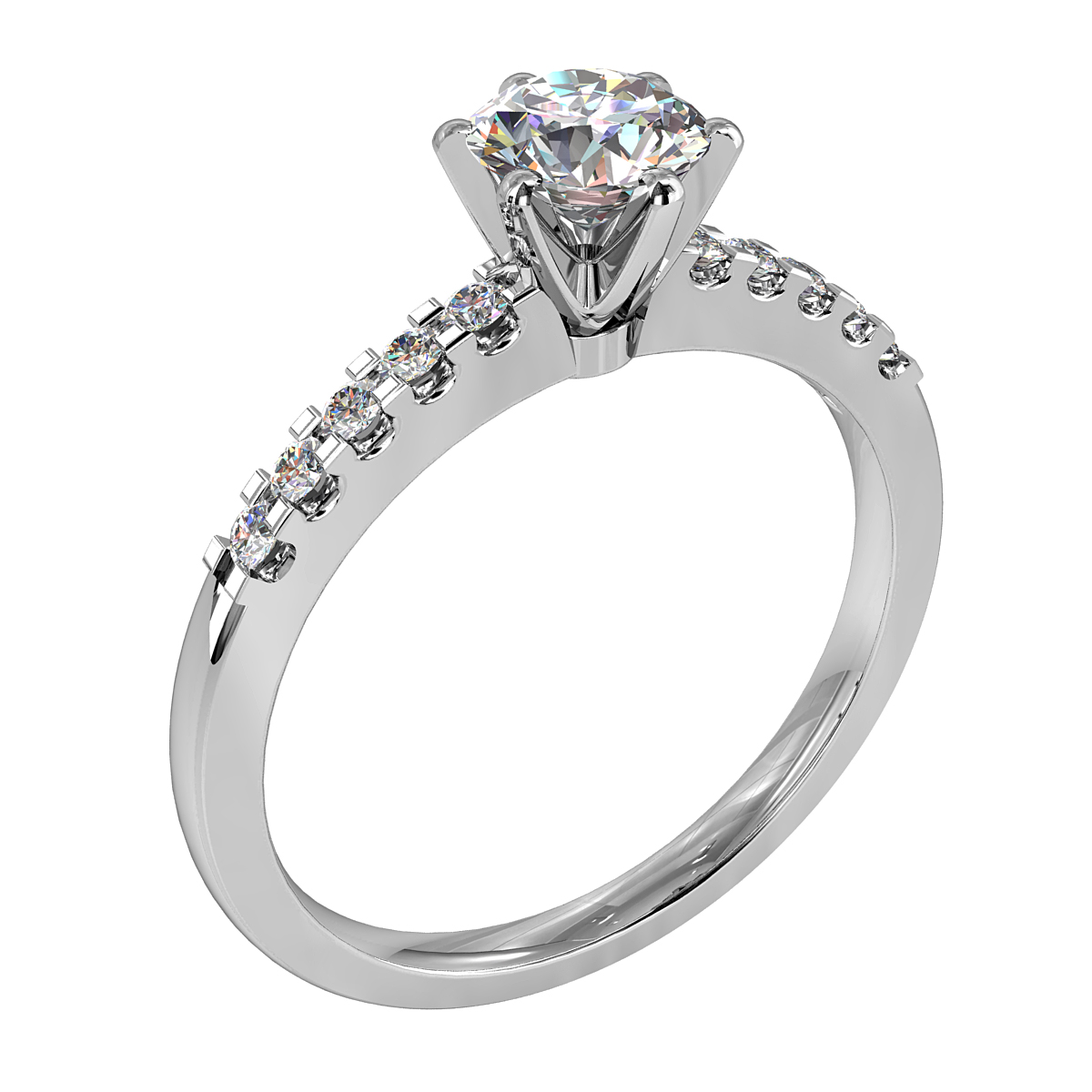 Round Brilliant Cut Solitaire Diamond Engagement Ring, 6 Button Claws Set on a Cut Claw Straight Band with Classic Undersetting.