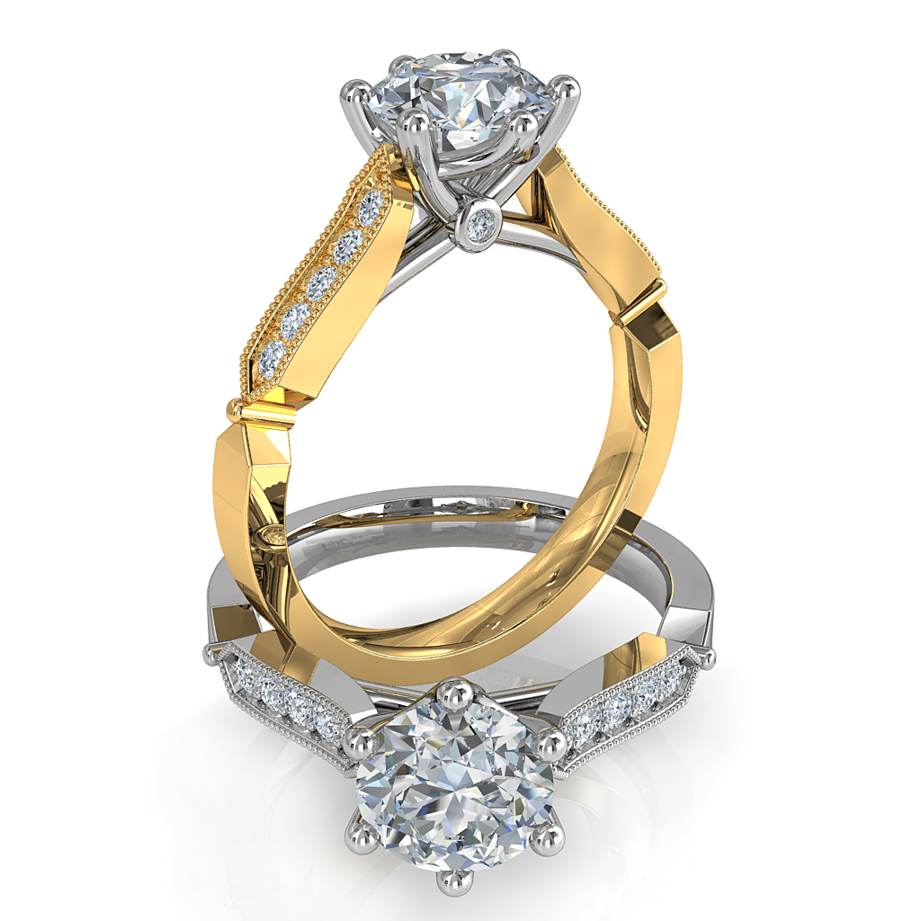 Round Brilliant Cut Solitaire Diamond Engagement Ring, 6 Button Claws Set on a Milgrain Bead Set Band with Art Deco Shaped Side Details and Hidden Diamond Undersetting.