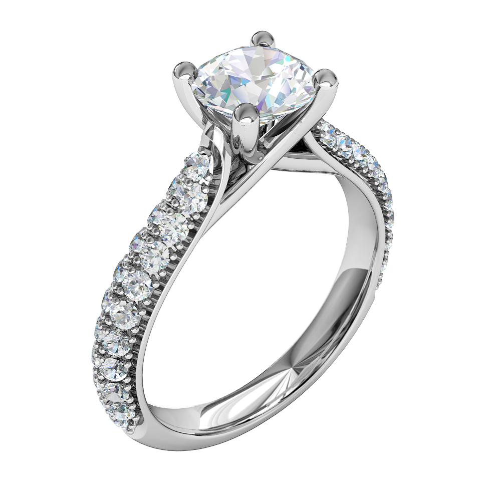 Round Brilliant Cut Solitaire Diamond Engagement Ring, 4 Claws Set on Double Row Pavé Band with Undersweep Setting.