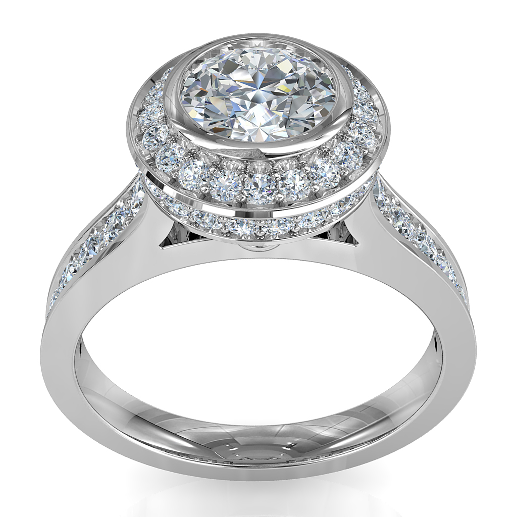 Round Brilliant Cut Halo Diamond Engagement Ring, Bezel Set Centre Stone in a Rolled Bead Set Halo on Reverse Tapered Bead Set Band with Diamond Set Support Bar.