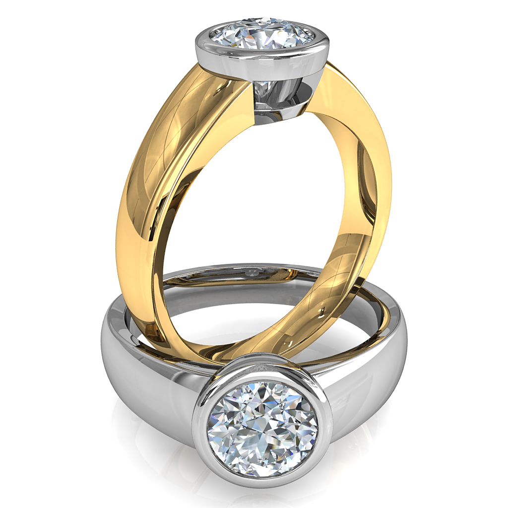 Round Brilliant Cut Solitaire Diamond Engagement Ring, Bezel Set on Wide Flat Reverse Tapered Band with Classic Undersetting.