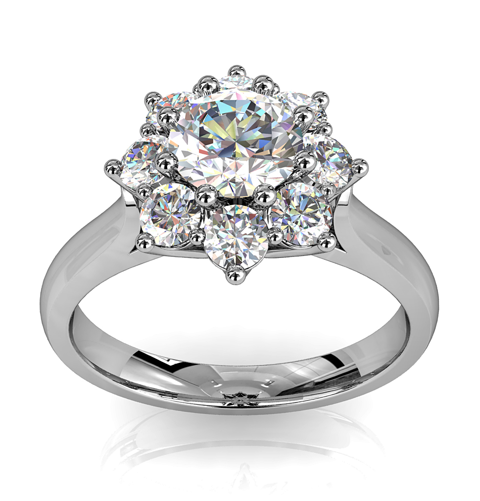 Round Brilliant Cut Diamond Cluster Halo Engagement Ring, 8 Claws Set in a Flower Vintage Cluster on Plain Tapered Band with Wire Basket Undersetting.
